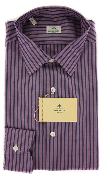 New $450 Borrelli Purple Striped Shirt - Extra Slim - 16/41 - (EV5085ANTONIO)