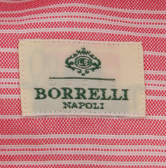 New $450 Luigi Borrelli Red Striped Shirt - Extra Slim - 16.5/42 - (EV5106NA35)