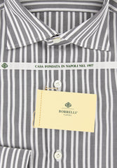 New $450 Borrelli Gray Striped Shirt - Extra Slim - 15.75/40 - (EV65090GIANNI)