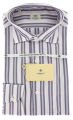 New $450 Borrelli Purple Striped Shirt - Extra Slim - 15.5/39 - (EV65180GIANNI)