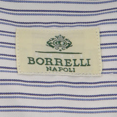 New $450 Borrelli Blue Striped Shirt - Extra Slim - 15.75/40 - (EVS07371GINO)