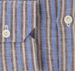New $450 Borrelli Blue Striped Shirt - Extra Slim - 16/41 - (EVTS126RINALDO)