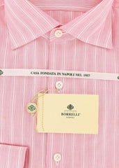 New $450 Borrelli Red Striped Shirt - Extra Slim - 16.5/42 - (EVTS4244GIANNI)