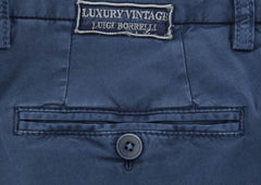 New $375 Luigi Borrelli Navy Blue Pants - Extra Slim - 34/50 - (10SLIMCERNP012)