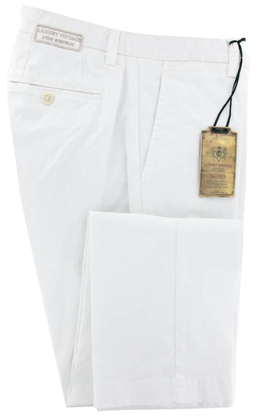 New $375 Luigi Borrelli White Pants - Extra Slim - 40/56 - 10SLIMCERNP012BIANCO