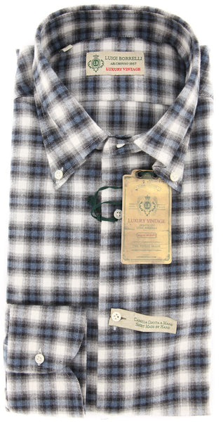 New $375 Borrelli Gray Plaid Shirt - Extra Slim - 15.75/40 - (EV416570VALERIO)