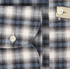 New $375 Borrelli Gray Plaid Shirt - Extra Slim - 16/41 - (EV416570VALERIO)