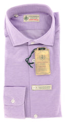 New $375 Borrelli Lavender Purple Shirt - Extra Slim - S/S - (MA2555ANDREA)