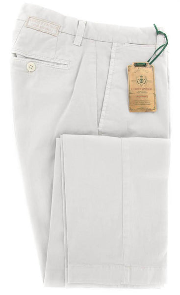 New $375 Luigi Borrelli Light Gray Pants - 40/56 - (10SLIMCERNP012MALTA)