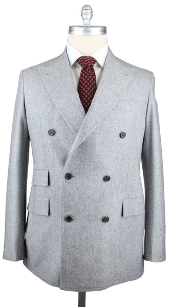 New $4500 Orazio Luciano Light Gray Flannel Suit - Double Breasted - 46/56