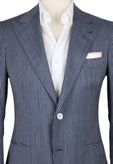 New $3450 Orazio Luciano Blue Striped Sportcoat - 2 Button - 38/48