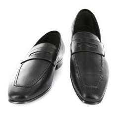 New $925 Max Verre Black Leather Shoes - Penny Loafers - 10/9 - (MV116NERO)