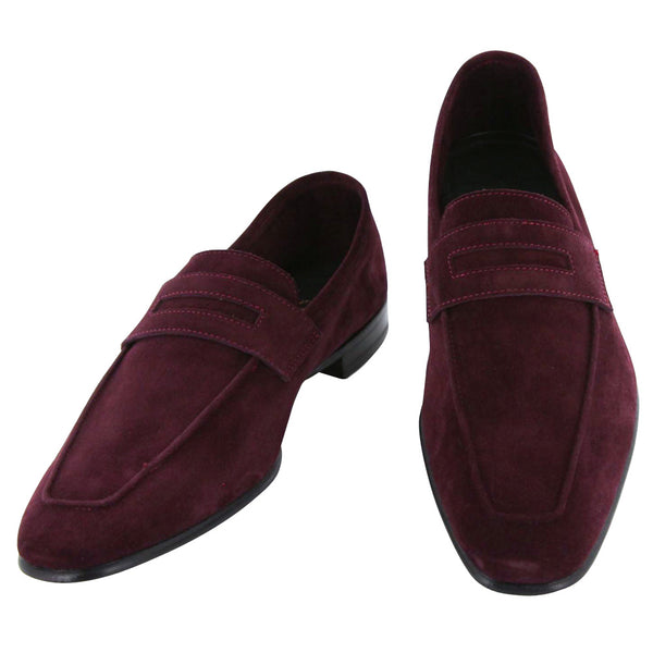 New $925 Max Verre Burgundy Red Shoes - Penny Loafers - 7/6 - (MV116LOAFER)