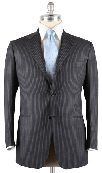New $7800 Kiton Gray 100% Cashmere Suit - Light Gray Striped - 44/54