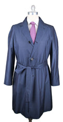 $5700 Kiton Navy Blue 100% Silk Solid Coat - 3 Button - Size S (US) / 48 (EU)