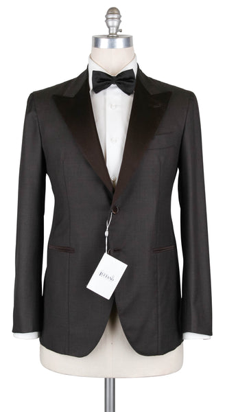New $5700 Orazio Luciano Brown Wool Tuxedo - 38/48 - (2BOTTONIA8115)
