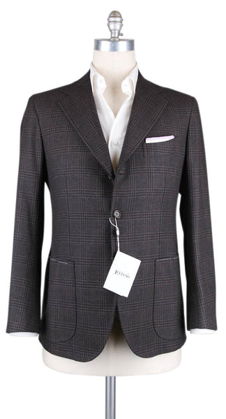 New $3900 Orazio Luciano Brown Plaid Sportcoat - 44/54 - (A9254)