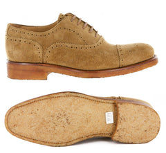 New $1325 Paolo Scafora Beige Shoes - Cap Toe Lace Ups - 7.5/6.5 - (P/GY/06NOIX)