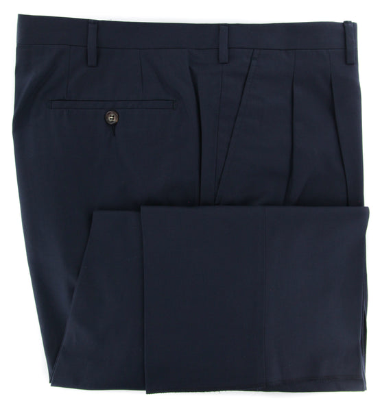 New $400 Rota Navy Blue Solid Pants - Full - (PADOVA2C155009) - Parent