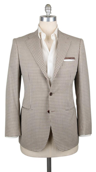 New $3300 Sartorio Napoli Beige Wool Blend Check Sportcoat - (SA1024177) - Parent