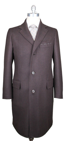 New $7500 Luigi Borrelli Brown Cashmere Herringbone Coat -  3 Button - 42/52