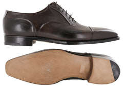 $6000 Silvano Lattanzi Dark Brown Leather Cap Toe Oxford Shoes - (589) - Parent