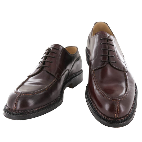 $8000 Silvano Lattanzi Burgundy Red Leather Derby Shoes - (592) - Parent
