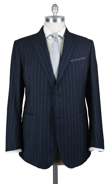 New $3600 Stile Latino Navy Blue Striped Suit - (VAULUCA20R0B30) - Parent