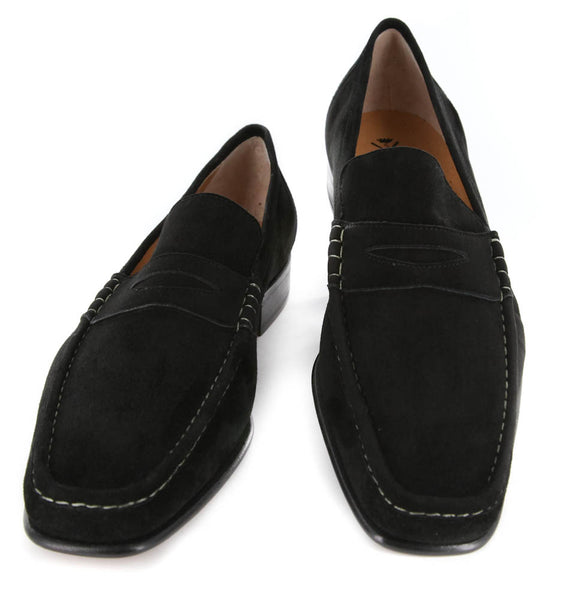 New $850 Sutor Mantellassi Black Shoes - Penny Loafers - 12/11 - (SM68344081)