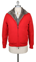 $4800 Svevo Parma Red Cashmere Solid Jacket - 42/52 - (SV14SA17MP1221539)