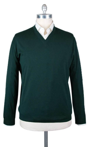 New $600 Svevo Parma Green Sweater - V-Neck - (0841SE11MP1372S) - Parent