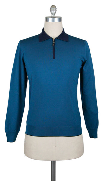 New $825 Svevo Parma Turquoise Wool Sweater - Polo - (S1241812) - Parent