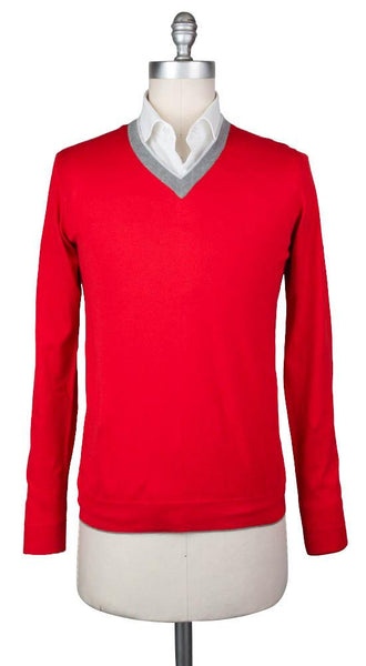 New $450 Svevo Parma Red Sweater - V-Neck - (4659SE12MP46V18C) - Parent