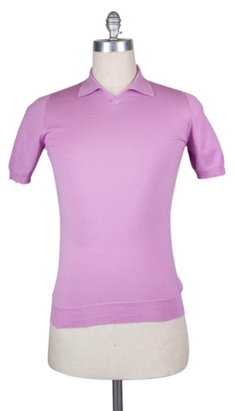 New $450 Svevo Parma Pink Cotton Polo - (MP46387) - Parent