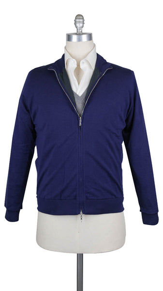 $1025 Svevo Parma Navy Blue Cotton Sweater Jacket - Full Zip - (500) - Parent