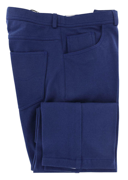 $750 Svevo Parma Blue Solid Stretch Pants - (444) - Parent