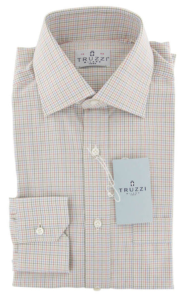 $350 Truzzi Multi-Colored Plaid Cotton Dress Shirt - Slim - (7Q) - Parent