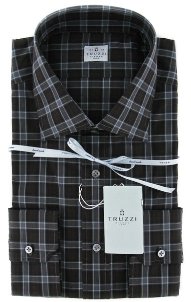 $425 Truzzi Dark Brown Plaid Cotton Dress Shirt - Slim - (7P) - Parent