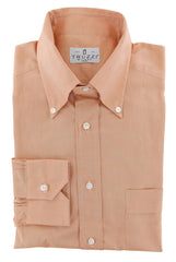 $350 Truzzi Orange Solid Cotton Dress Shirt - Slim - 15.75/40 - (7X)