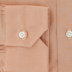 $350 Truzzi Orange Solid Cotton Dress Shirt - Slim - (7X) - Parent