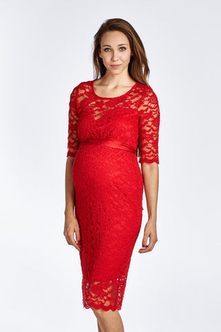 Floral Lace Scallop Maternity Midi Dress
