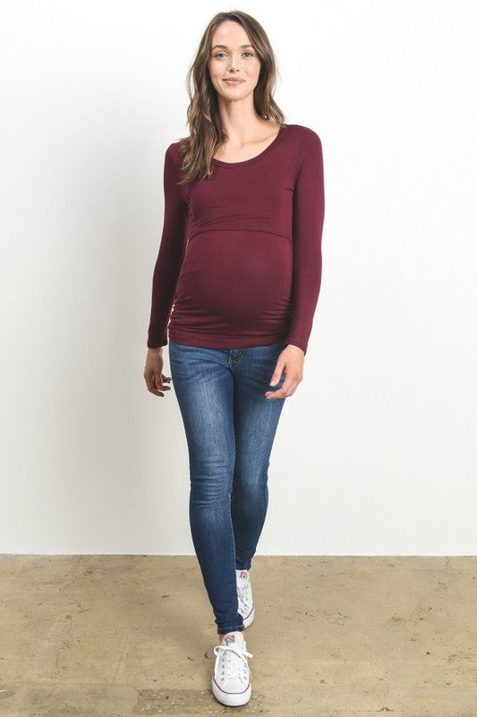 Double Layer Long Sleeve Maternity Nursing Top Mom 2 Be