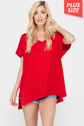 Side Slit V-Neck Solid Top Plus Size