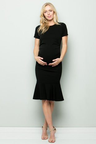 Maternity Midi Dress - Fitted Stretch Short Sleeves Mermaid Flare Ruffle