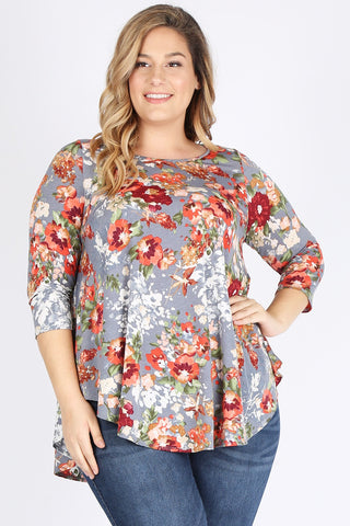 Emetla Plus Size Flower Print Tunic Top