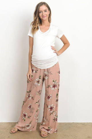 Hello Miz Women's Floral Wide Leg Comfy Maternity Pants