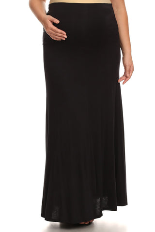 Curvaceous Solid Maxi Skirt