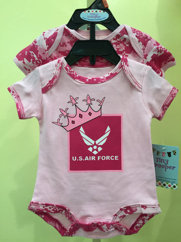 2pc Pink Camo Onesie Air Force