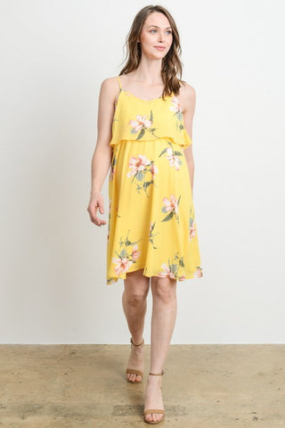 Floral Ruffle Discreet Maternity/Nursing Dress with Spaghetti Straps