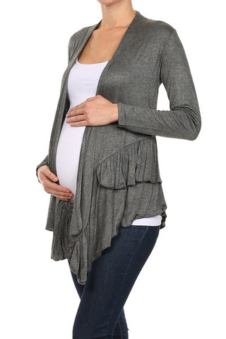 Charcoal Ruffle Open Cardigan